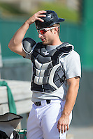 Lynchburg Hillcats catcher Eric Haase (13) prepares to catch a bullpen session prior to the game against the Frederick Keys at Calvin Falwell Field at Lynchburg City Stadium on May 14, 2015 in Lynchburg, Virginia.  The Hillcats defeated the Keys 6-3.  (Brian Westerholt/Four Seam Images)