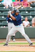 Jeremy Williams #16 of the Myrtle Beach Pelicans at bat against the Winston-Salem Dash at BB&T Ballpark on July 5, 2012 in Winston-Salem, North Carolina.  The Dash defeated the Pelicans 12-5.  (Brian Westerholt/Four Seam Images)