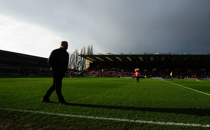 Mansfield Town manager David Flitcroft prior to the game<br /> <br /> Photographer Chris Vaughan/CameraSport<br /> <br /> The EFL Sky Bet League Two - Lincoln City v Mansfield Town - Saturday 24th November 2018 - Sincil Bank - Lincoln<br /> <br /> World Copyright © 2018 CameraSport. All rights reserved. 43 Linden Ave. Countesthorpe. Leicester. England. LE8 5PG - Tel: +44 (0) 116 277 4147 - admin@camerasport.com - www.camerasport.com