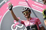 Race leader Maglia Rosa Simon Yates (GBR) Mitchelton-Scott at sign on before the start of Stage 7 of the 2018 Giro d'Italia, a flat stage running 159km from Pizzo to Praia a Mare, Italy. 11th May 2018.<br /> Picture: LaPresse/Fabio Ferrari | Cyclefile<br /> <br /> <br /> All photos usage must carry mandatory copyright credit (&copy; Cyclefile | LaPresse/Fabio Ferrari)