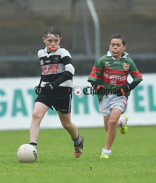 Darragh Keogh during the U-12 football finals in Cusack park. Photograph by John Kelly.
