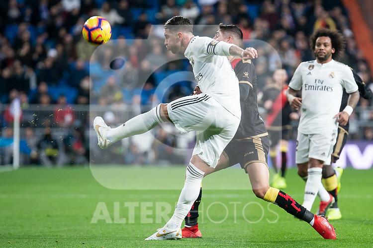 Sergio Ramos of Real Madrid during La Liga match between Real Madrid and Rayo Vallecano at Santiago Bernabeu Stadium in Madrid, Spain. December 15, 2018. (ALTERPHOTOS/Borja B.Hojas)