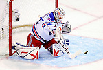 23 January 2010: New York Rangers' goaltender Henrik Lundqvist makes a first period save against the Montreal Canadiens at the Bell Centre in Montreal, Quebec, Canada. The Canadiens shut out the Rangers 6-0. Mandatory Credit: Ed Wolfstein Photo