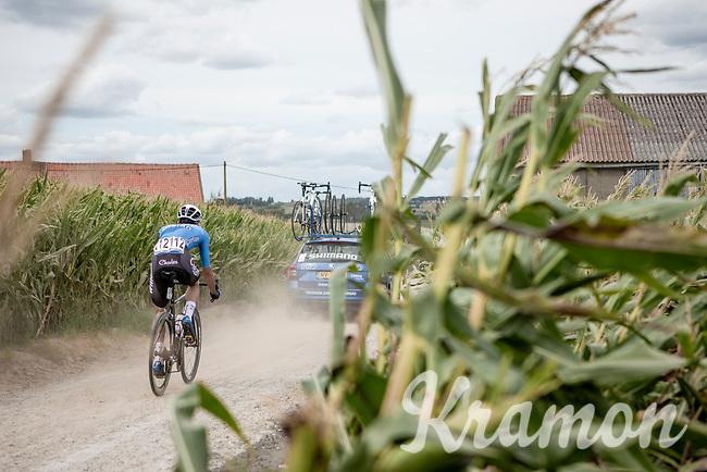 Dries De Bondt (BEL/Veranda's Willems Crelan) over  the Plugstreets Gravel Sections. <br /> <br /> <br /> 1st Great War Remembrance Race 2018 (UCI Europe Tour Cat. 1.1) <br /> Nieuwpoort > Ieper (BE) 192.7 km
