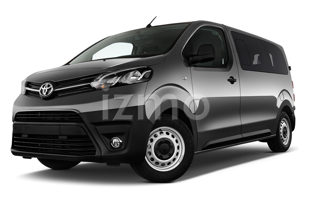 Stock pictures of low aggressive front three quarter view of 2017 Toyota Proace-Verso Medium 5 Door Passenger Van Low Aggressive