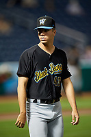 West Virginia Black Bears pitcher Mike LoPresti (43) after a game against the State College Spikes on August 30, 2018 at Medlar Field at Lubrano Park in State College, Pennsylvania.  West Virginia defeated State College 5-3.  (Mike Janes/Four Seam Images)