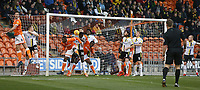 Burton Albion's Lucas Akins denies Blackpool's Donervon Daniels a goalscoring chance<br /> <br /> Photographer Stephen White/CameraSport<br /> <br /> The EFL Sky Bet League One - Blackpool v Burton Albion - Saturday 24th November 2018 - Bloomfield Road - Blackpool<br /> <br /> World Copyright © 2018 CameraSport. All rights reserved. 43 Linden Ave. Countesthorpe. Leicester. England. LE8 5PG - Tel: +44 (0) 116 277 4147 - admin@camerasport.com - www.camerasport.com