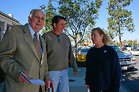 Ninety year old Raul Fernandes heads to the polls with his son Steve on Super Tuesday, February 5 2008.