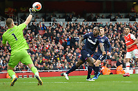 Michail Antonio has his header saved by Bernd Leno of Arsenal FC  during Arsenal vs West Ham United, Premier League Football at the Emirates Stadium on 7th March 2020
