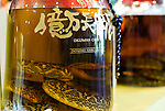 "Photo shows ""habushu,"" the awamori-based liquor that includes extracts of the highly venomous habu snake, at Oknawa World in Naha, Okinawa Prefecture, Japan, on May 22, 2012. Photographer: Robert Gilhooly"