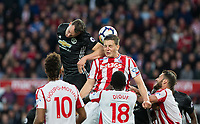 Phil Jones of Man Utd shot is blocked by Kevin Wimmer of Stoke City during the Premier League match between Stoke City and Manchester United at the Britannia Stadium, Stoke-on-Trent, England on 9 September 2017. Photo by Andy Rowland.