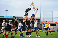 James Phillips of Bath Rugby rises high to win lineout ball. Aviva Premiership match, between Exeter Chiefs and Bath Rugby on December 2, 2017 at Sandy Park in Exeter, England. Photo by: Patrick Khachfe / Onside Images