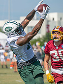 New York Jets wide receiver ArDarius Stewart (18) catches a pass over Washington Redskins defensive back Troy Apke (30) as they participate in a joint training camp practice at the Washington Redskins Bon Secours Training Facility in Richmond, Virginia on Tuesday, August 14, 2018.<br /> Credit: Ron Sachs / CNP<br /> (RESTRICTION: NO New York or New Jersey Newspapers or newspapers within a 75 mile radius of New York City)