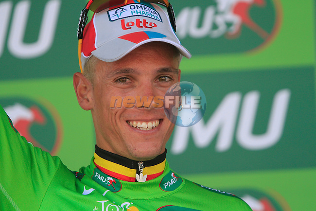 Philippe Gilbert (BEL) Omega Pharma-Lotto wears the Green Points Jersey after winning the 1st stage of the 2011 Tour de France from Passage du Gois to Mont des Alouettes , 2nd July 2011 (Photo by Eoin Clarke/NEWSFILE)