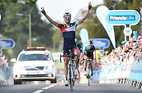 Picture by Alex Broadway/SWpix.com - 12/09/2014 - Cycling - 2014 Friends Life Tour of Britain - Stage 6, Bath to Hemel Hempstead - Matthias Brandle of Austria and IAM Cycling celebrates as he crosses the line to win. Stage 6.