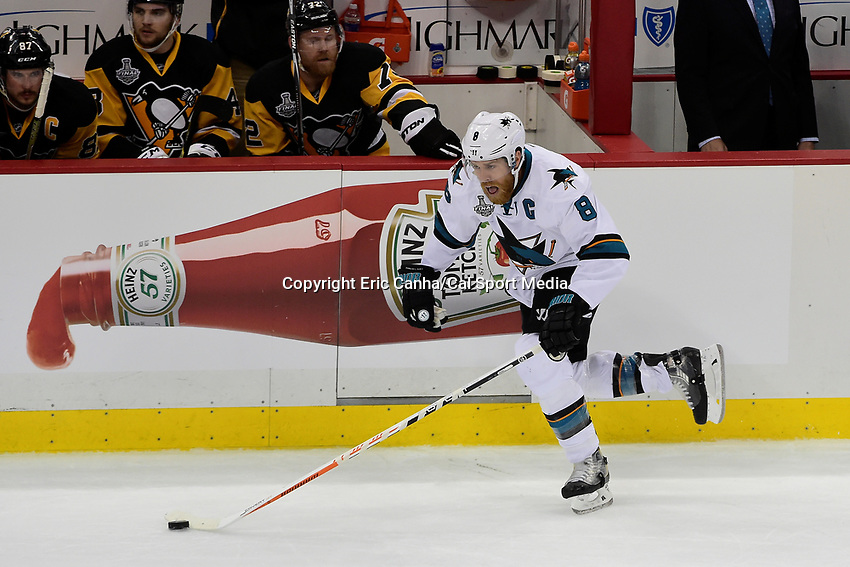 Wednesday, June 1, 2016: San Jose Sharks center Joe Pavelski (8) in game action during game 2 of the NHL Stanley Cup Finals  between the San Jose Sharks and the Pittsburgh Penguins held at the CONSOL Energy Center in Pittsburgh Pennsylvania. Pittsburgh beats San Jose 2-1 in overtime and leads the best of 7 series 2-0. Eric Canha/CSM