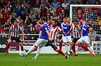 Lincoln City's Michael Bostwick vies for possession with Exeter City's Ryan Harley<br /> <br /> Photographer Andrew Vaughan/CameraSport<br /> <br /> The EFL Sky Bet League Two Play Off First Leg - Lincoln City v Exeter City - Saturday 12th May 2018 - Sincil Bank - Lincoln<br /> <br /> World Copyright &copy; 2018 CameraSport. All rights reserved. 43 Linden Ave. Countesthorpe. Leicester. England. LE8 5PG - Tel: +44 (0) 116 277 4147 - admin@camerasport.com - www.camerasport.com
