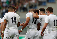 Rugby, Torneo delle Sei Nazioni: Italia vs Inghilterra. Roma, 14 febbraio 2016.<br /> England&rsquo;s Jonathan Joseph, second from left, celebrates with teammates after scoring a try during the Six Nations rugby union international match between Italy and England at Rome's Olympic stadium, 14 February 2016.<br /> UPDATE IMAGES PRESS/Riccardo De Luca