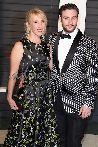 28 February 2016 - Beverly Hills, California - Sam Taylor-Johnson, Aaron Taylor-Johnson. 2016 Vanity Fair Oscar Party hosted by Graydon Carter following the 88th Academy Awards held at the Wallis Annenberg Center for the Performing Arts. Photo Credit: AdMedia