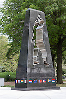 The Universal Solider monument pays tribute to veterans of the Korean War in the New York Korean War Veterans Memorial, located in Battery Park, New York CIty
