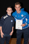 St Johnstone FC Academy Awards Night...06.04.15  Perth Concert Hall<br /> Ally Gilchrist presents a certificate to Josh Scoon<br /> Picture by Graeme Hart.<br /> Copyright Perthshire Picture Agency<br /> Tel: 01738 623350  Mobile: 07990 594431
