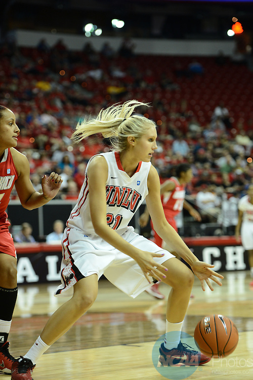 14 MAR 2013: The University of New Mexico takes on the University of Nevada Las Vegas during the Mountain West Conference Women's Basketball Tournament held at the Thomas & Mack Center in Las Vegas, NV. Peter Lockley/NCAA Photos