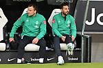 06.10.2019, Commerzbankarena, Frankfurt, GER, 1. FBL, Eintracht Frankfurt vs. SV Werder Bremen, <br /> <br /> DFL REGULATIONS PROHIBIT ANY USE OF PHOTOGRAPHS AS IMAGE SEQUENCES AND/OR QUASI-VIDEO.<br /> <br /> im Bild: Philipp Bargfrede (#44, SV Werder Bremen), Claudio Pizarro (SV Werder Bremen #14)<br /> <br /> Foto © nordphoto / Fabisch