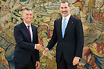 President of Argentinian Republic Mauricio Macri and King Felipe VI of Spain during meeting with president of Argentinian Republic, Sr. Mauricio Macri and Sra Juliana Awada at Real Palace in Madrid, Spain. February 19, 2017. (ALTERPHOTOS/BorjaB.Hojas)
