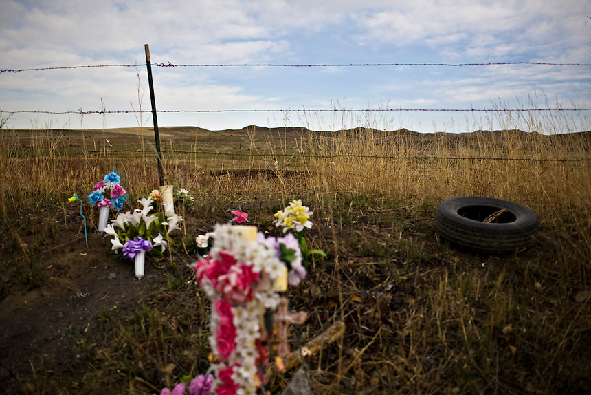 Men and women who have died as a result of car accidents on the Crow Indian Reservation are honored. Makeshift memorials are scattered throughout the reservation in memorial of the tribe's people who were lost.