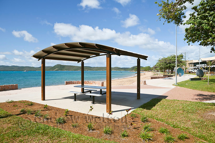 Picnic shelter on Victoria Parade foreshore.  Thursday Island, Torres Strait Islands, Queensland, Australia