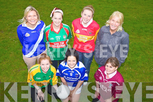 Six South Kerry Ladies teams prepare to do battle at the Skellig Rangers Ladies Breast Cancer Event which will take place in Portmagee on the 13th July with all proceeds going to the Oncology Unit in Tralee General Hospital pictured here front l-r; Aideen Martin(Skellig Rangers),  Rebecca Galvin(Renard), Sarah O'Shea(Dromid), back l-r; Sadhbh O'Neill(St Marys), Mayers Cronin(St Michaels/Foilmore), Amy Lyne(Valentia) & Paula Brennan(Organising Committee).