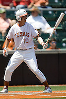 Shortstop Brandon Loy #10 of the Texas Longhorns at bat against Texas Tech on April 17, 2011 at UFCU Disch-Falk Field in Austin, Texas. (Photo by Andrew Woolley / Four Seam Images)