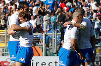 Six Nations rugby tournament: Italy vs Scotland. Rome, Olympic stadium, 17 march 2012..Torneo Sei Nazioni di rugby: Italia-Scozia. Roma, stadio Olimpico, 17 marzo 2012..Italy's players celebrate at the end of the match.Italy won 13-6..UPDATE IMAGES PRESS/Riccardo De Luca