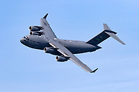 C-17 Globemaster 3 in flight. The Mcdonnell Douglas built military transport has an overall length of 174 feet and a wingspan of 169 feet 9.6 inches.