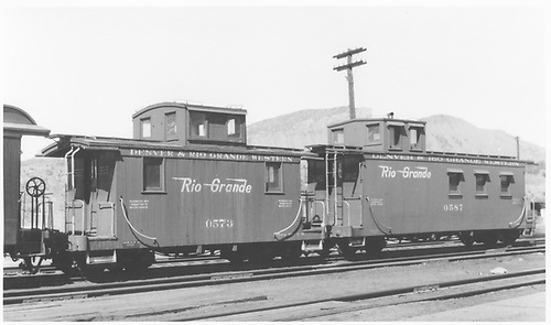 Short caboose #0753 and long caboose #0587.<br /> D&amp;RGW  Durango, CO  4/1948