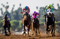 ARCADIA, CA - FEBRUARY 03: Lombo #4, ridden by Flavien Prat defeats Ayacara #1, with Kent Desormueax aboard to win the Robert B. Lewis Stakes at Santa Anita Park on February 3, 2018 in Arcadia, California. (Photo by Alex Evers/Eclipse Sportswire/Getty Images)