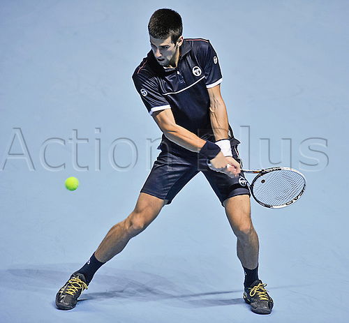 23.11.2011 London, England Novak Djokovic of Serbia during his singles match round robin  against David Ferrer of Spain at the Tennis Barclays ATP World Tour Finals 2011 at 02 London Arena.