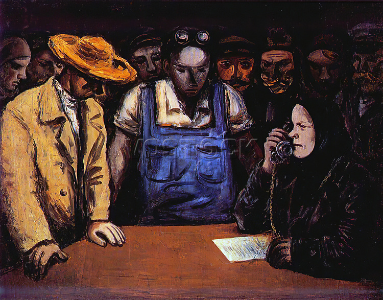 At the Collective Farm Headquarters.Before the Assault on the Cap 1931 by Samuel Adlivankin. Soviet Union Communist Propaganda (Russia under Lenin and Stalin1921-1953 ).