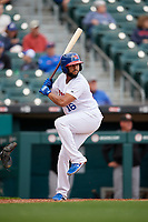 Buffalo Bisons Richard Urena (16) bats during an International League game against the Norfolk Tides on June 21, 2019 at Sahlen Field in Buffalo, New York.  Buffalo defeated Norfolk 2-1, the first game of a doubleheader.  (Mike Janes/Four Seam Images)
