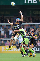 James Haskell of Wasps juggles a high ball during the Premiership Rugby Round 2 match between Wasps and Northampton Saints at Adams Park on Sunday 14th September 2014 (Photo by Rob Munro)
