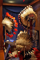 Historical display of Indian Headresses at the Oregon High Desert Museum. Henry J. Casey Hall of Palteau Indians. Central Oregon