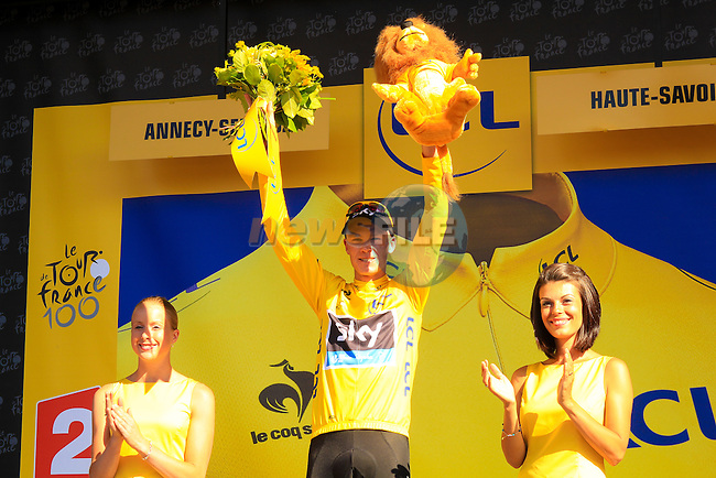 Christopher Froome (GBR) Sky Procycling retains the Yellow Jersey after Stage 20 of the 100th Edition of the 2013 Tour de France from Annecy to Annecy Semnoz. 20th July 2013.<br /> (Photo:Thomas van Bracht/Peloton Photos/www.newsfile.ie)