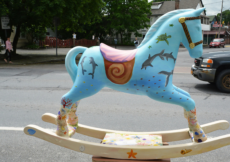 "A view of, ""Seahorse"" by artist, Heather I. Martin, one of the 35 Artist painted Rocking Horses on display around Saugerties, NY as part of the Chamber of Commerce sponsored Art in the Village Project titled ""Rockin' Around Saugerties."" This photo taken on Friday, May 26, 2017. Photo by Jim Peppler. Copyright/Jim Peppler-2017."