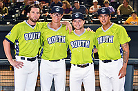 Vince Fernandez, J.D. Hammer, Max George and Colton Welker of the Asheville Tourists after the home run derby as part of the All Star Game festivities at Spirit Communications Park on June 19, 2017 in Columbia, South Carolina. The Soldiers defeated the Celebrities 1-0. (Tony Farlow/Four Seam Images)