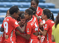 CALI - COLOMBIA, 14-09-2019: Catalina Usme del América celebra después de anotar el primer gol de su equipo partido por la semifinal vuelta de la Liga Femenina Aguila 2019 entre América de Cali y Millonarios jugado en el estadio Pascual Guerrero de la ciudad de Cali. / Catalina Usme of America celebrates after scoring the first goal of his team during second leg match for the semifinals as part of Aguila Women League 2019 between America de Cali and Millonarios played at Pascual Guerrero stadium in Cali. Photo: VizzorImage / Gabriel Aponte / Staff