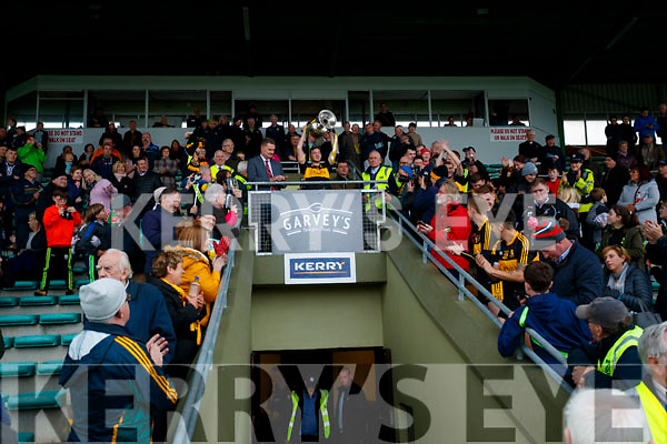 Dr Crokes captain Daithí Casey lifts the Bishop Moynihan cup after his team defeated South Kerry in the Senior County Football Final in Austin Stack Park on Sunday