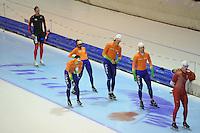 SCHAATSEN: HEERENVEEN: IJsstadion Thialf, 15-11-2012, World Cup Training, Seizoen 2012-2013, Anice Das, Jesper Hospes, Hein Otterspeer, Michel Mulder, ©foto Martin de Jong