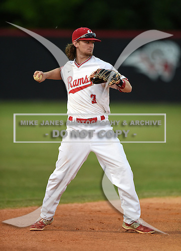 Lake Mary Rams shortstop Brendan Rodgers (3) during a game against the Lake Brantley Patriots on April 2, 2015 at Allen Tuttle Field in Lake Mary, Florida.  Lake Brantley defeated Lake Mary 10-5.  (Mike Janes Photography)