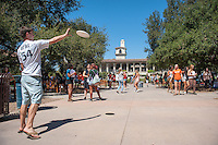 Occidental College students at Involvement Fair in the Academic Quad on Sept. 11, 2014. Clubs, programs and college services had tables with information, as well as performances from Dance Team, Drumline, and Dance Pro. (Photo by Marc Campos, Occidental College Photographer)
