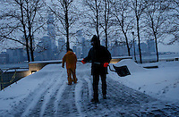 Workers clean the floor in Jersey City as winter storm hits the tri-state area causing significant delays at airports in the region. Last month was coldest February in New York City since 1869. Mar 01,2015. Eduardo Munoz/VIEWpress.